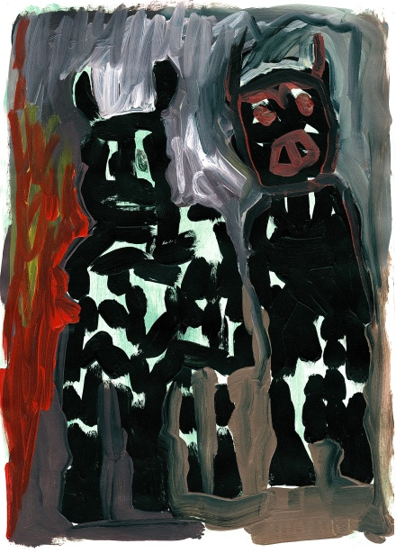 Two Figures in Black