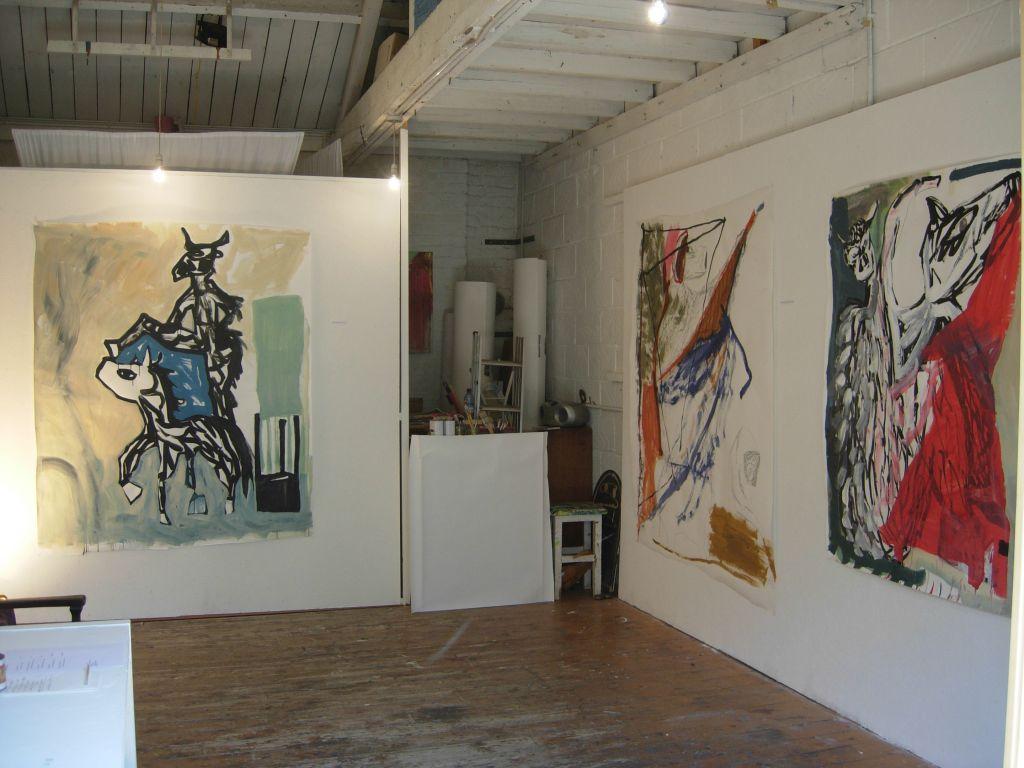 Works in situ in studio